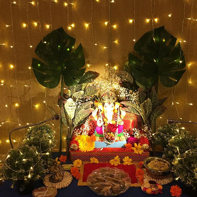 I have been slacking this year in posting my Bappa. When you are having a time of your life taking care of someone, you tend to forget the outside world. Bappa has been visiting my house for last 17 yrs, and those 11 days in each year has thought me so much. I get him ready every morning with different color flowers. It shows how colors in your life is so imp. Colors as an life's ups and downs. Each color compliments the other as in our lives. Bappa left yesterday and promised me that he will do his best in making sure world is at peace.  THANKS A LOT TO EVERYONE WHO HAS BEEN PART OF THIS CELEBRATION OF MY FAITH AND BAPPA.