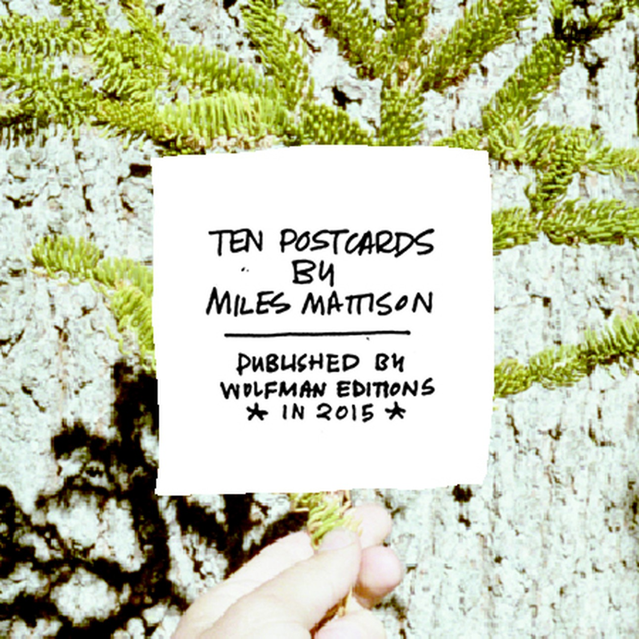 Ten Postcards  Miles Mattison  $12.00  Ten photographic postcards of connective technology and forces, with hand-drawn labels, and a short essay by the artist
