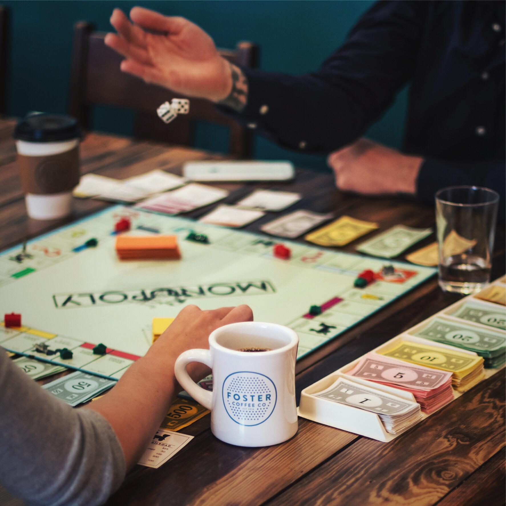 board game night at Foster Coffee
