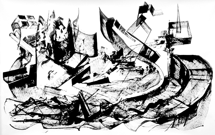 """""""Untitled"""" - Ink on Paper 72 X 42 Inches"""