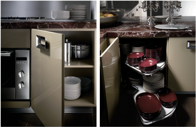 Clever cabinet accessories optimize storage space -Ernestomeda