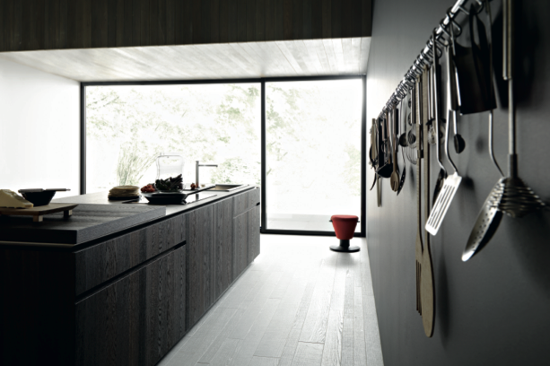 Kitchen utensils are kept accessible in an attractive way -Cesar Arredamenti