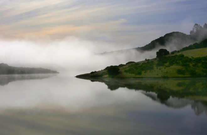 Fog shrouds Nicasio Reservoir.  Photo credits: Liz Hafalia, The Chronicle