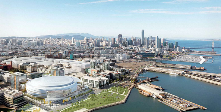 Rendering of the Warrior's new Chase Center area in MIssion Bay.