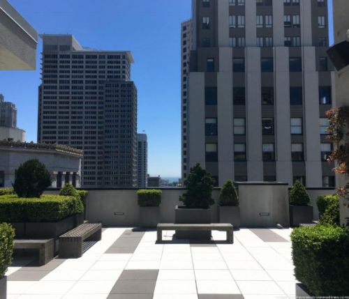 Open weekdays 9am to 6pm, this rooftop terrace has views of Market Street, nearby buildings as well as bench seating and well maintained greenery.