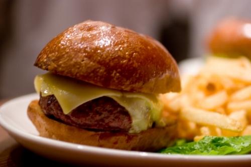 Nopa's grass-fed hamburger.