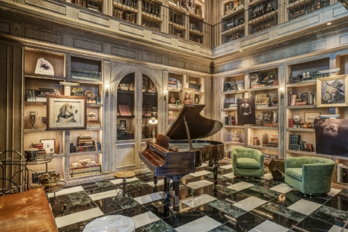 The Harrison's lobby, called the Grand Salon, has cerused-oak walls, built-in shelves and a vintage 1948 Steinway baby grand piano.