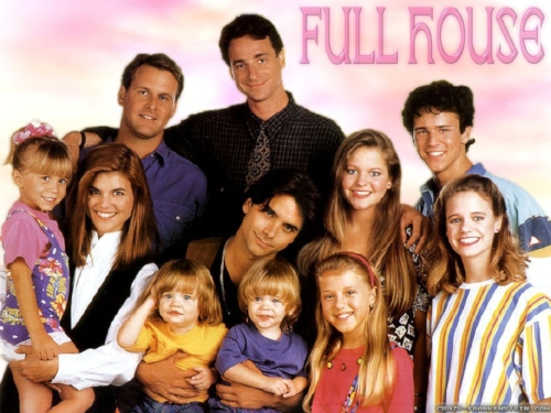 The cast of the original Full House, which aired from 1987 to 1995. Bob Sagat, John Stamos and Dave Coulier were the three main male characters.