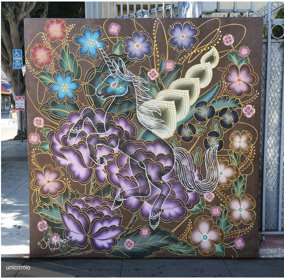 """""""Unicornio de la Misiòn,"""" at Bartlett and 22nd, is a continuation of Jet Martinez's work inspired by Mexican folk art forms."""
