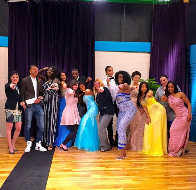 On set at the Sunday Omony Show filmed for OMNI TV. Gowns provided by Durand Bridal & Formal Wear.