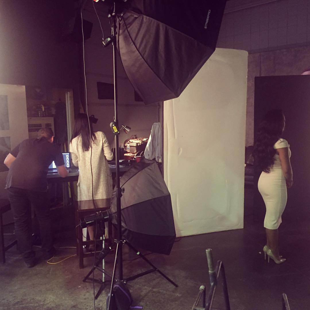On set for Bombay Hair Commercial Campaign.