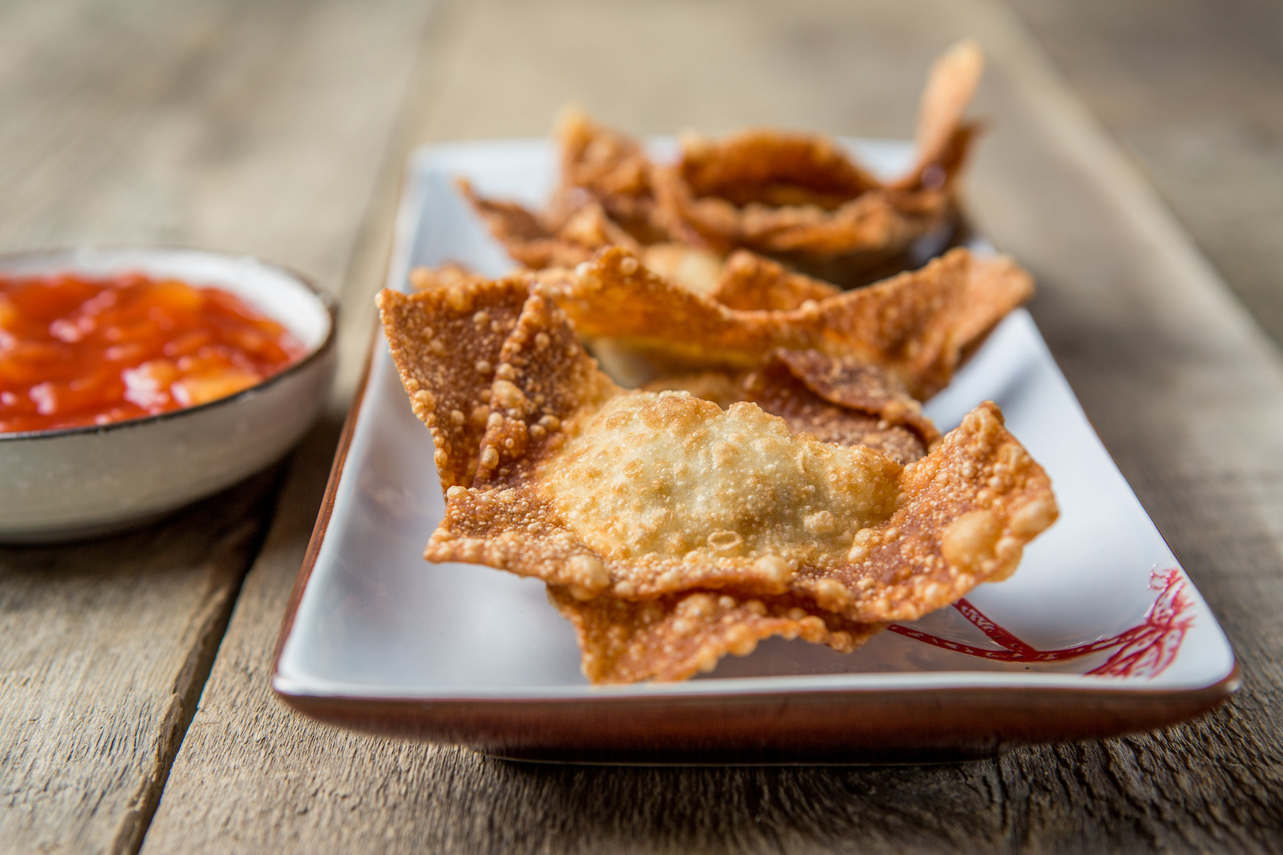 Fried Wontons as an appetizer. See below for making wontons for hot pot use.