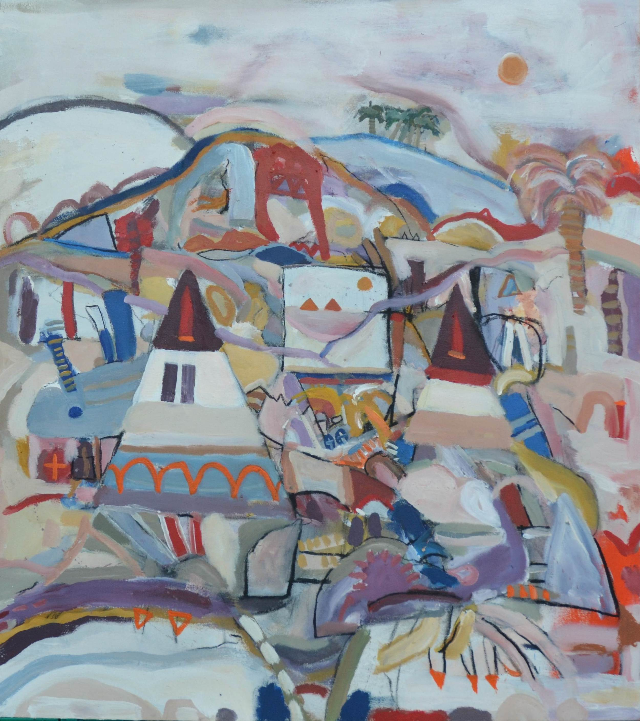 Sex is like a desert with two Egyptian Monuments 2013  Acrylic on canvas  90 x 100 cm
