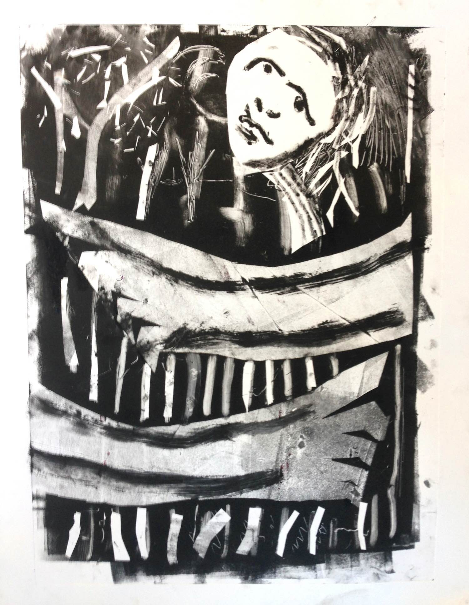 Bedside Forestry 2016  Monotype  20 x 30cm
