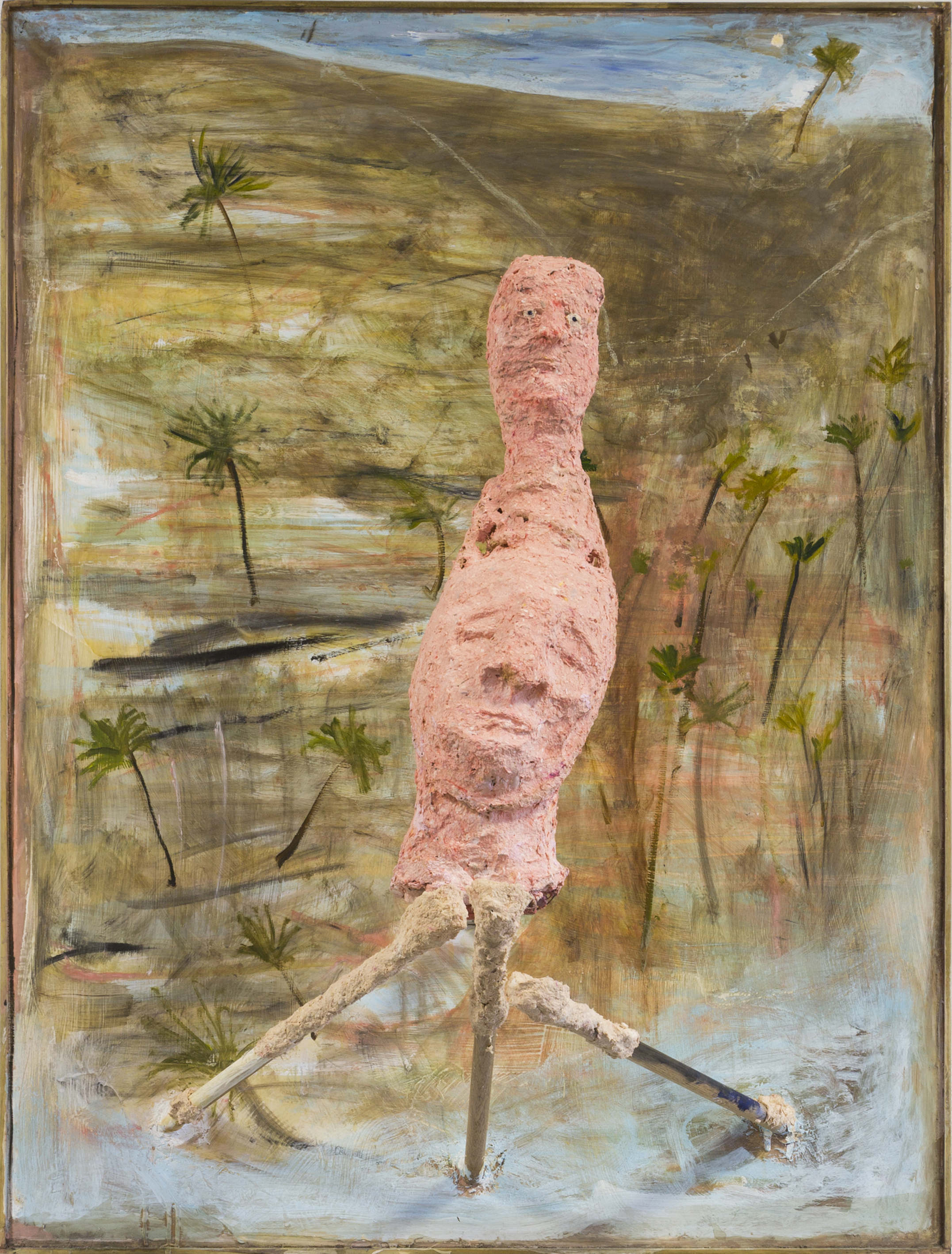 Head with Relic in Landscape 2016 Acrylic, plaster, paper mache, oil paint on board 180 x 90 x 60 cm