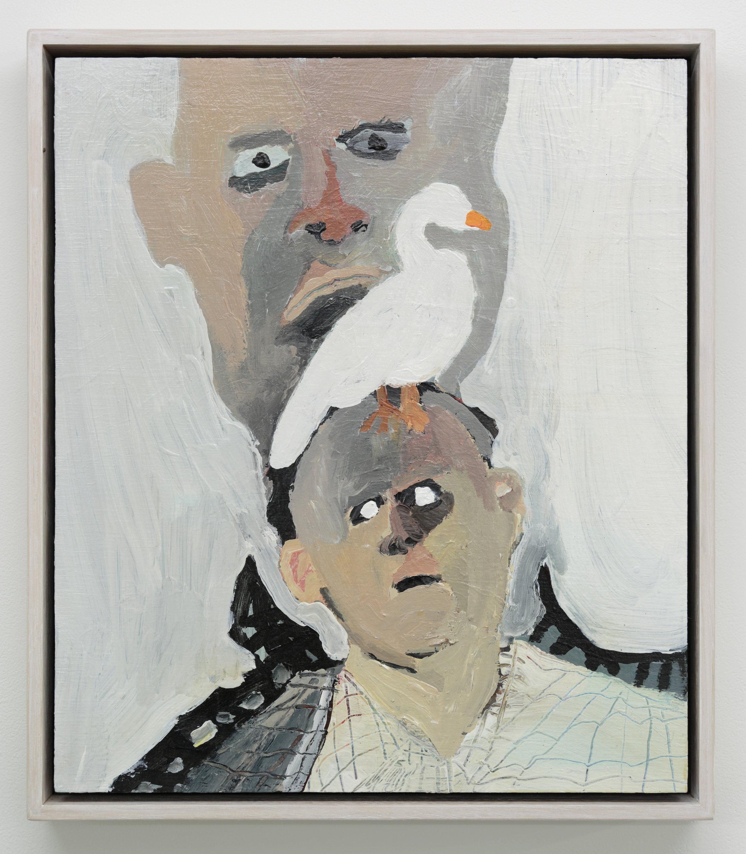 Conversation with bird 2017 Acrylic on board 30 x 25cm