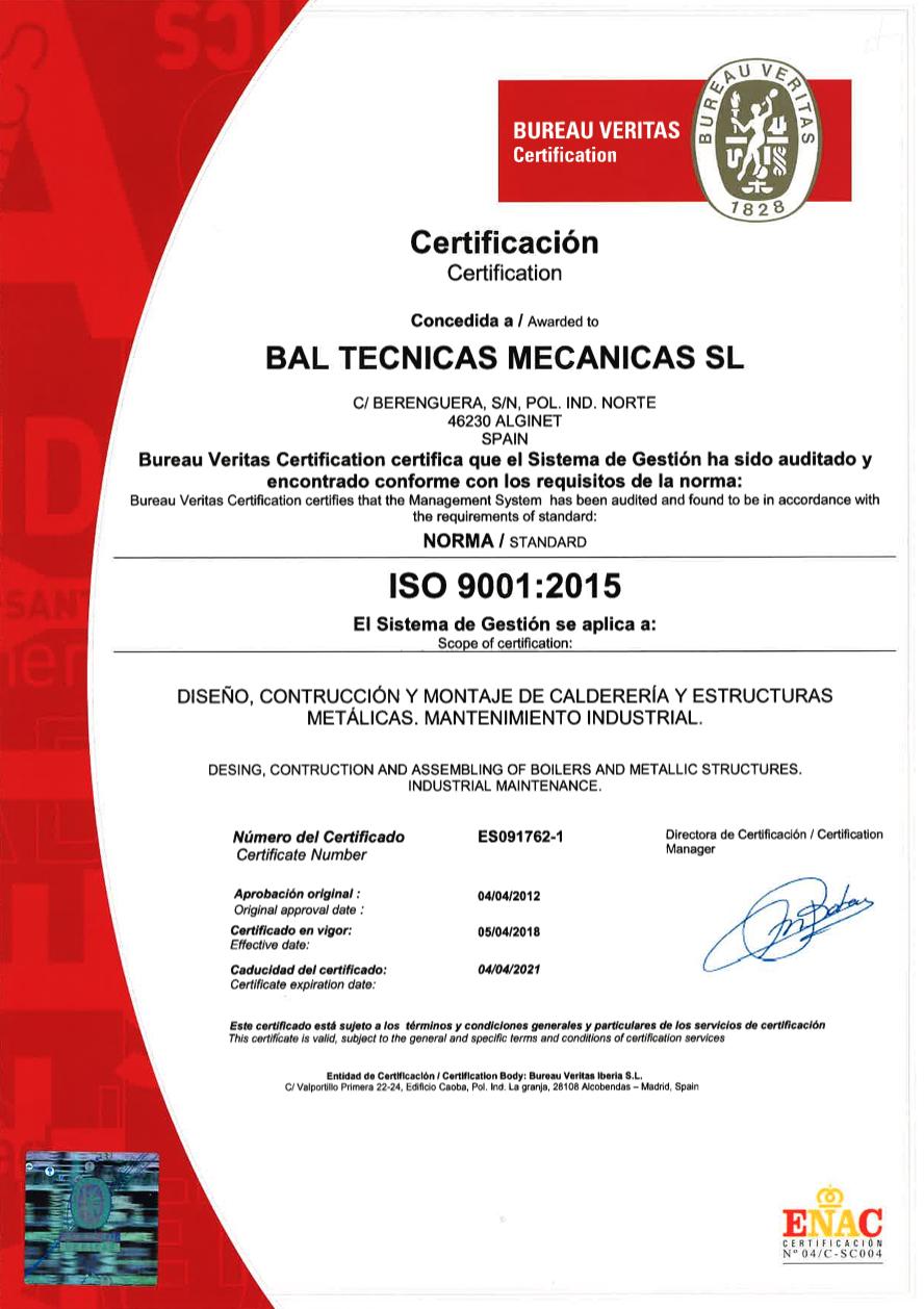BAL -  Certificado Bureau Veritas