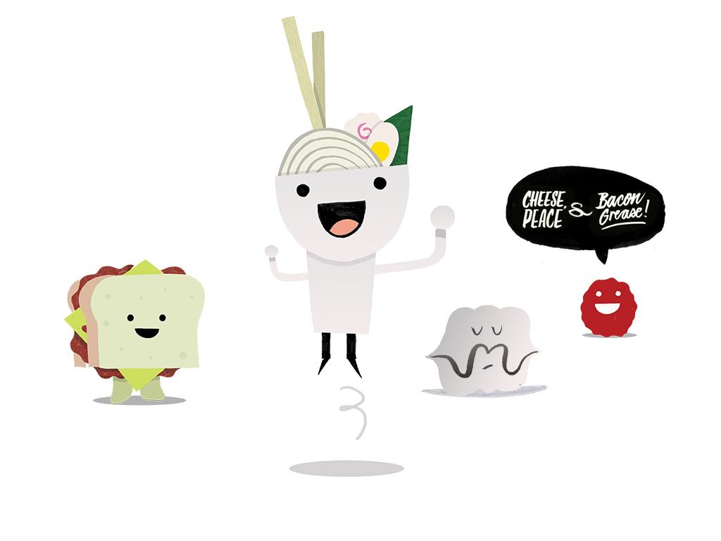 Character design (Reuben sandwich, Ramen, Oysters and Meatball)