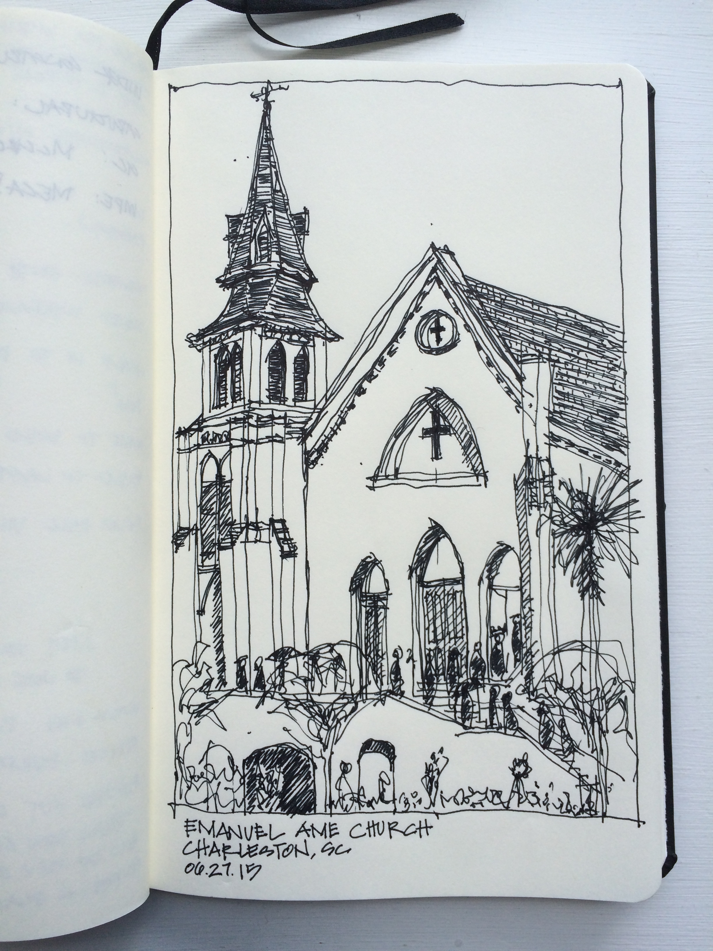 Sketching the Emanuel AME Church in Charleston, SC was a reflective way to acknowledge the dark happenings of our city and pay respect.