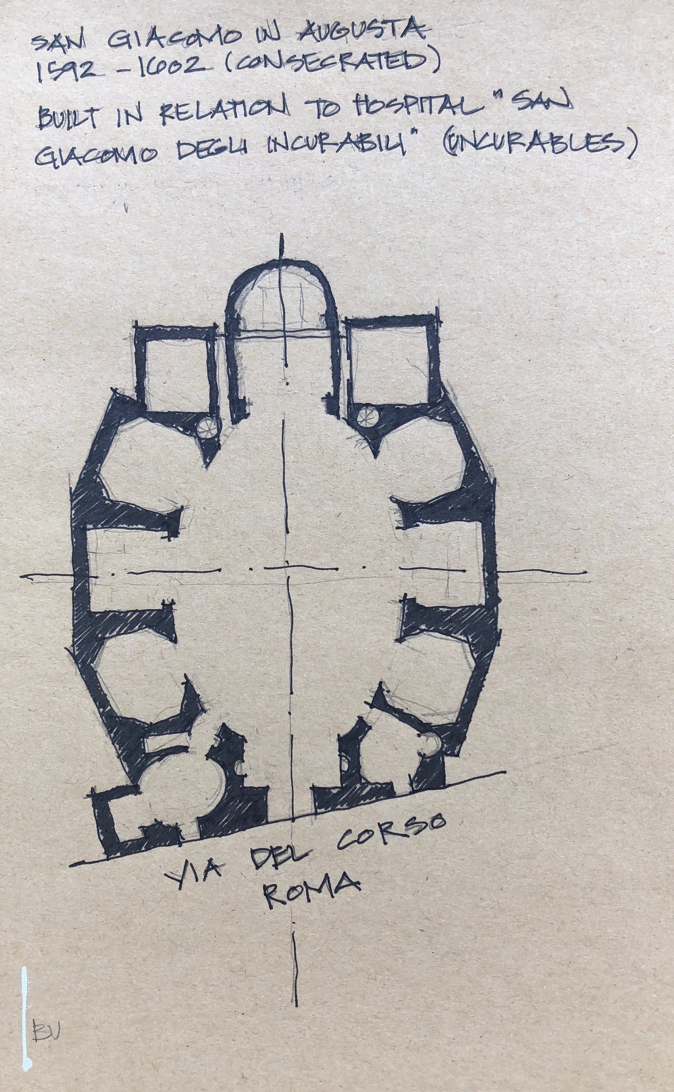 There is a church every turn you make in Rome. San Giacomo in Augusta was next to our hotel and after walking past it for days, we finally peeked in…speechless. Decided to draw the floor plan to convey the mass, construction and robustness.