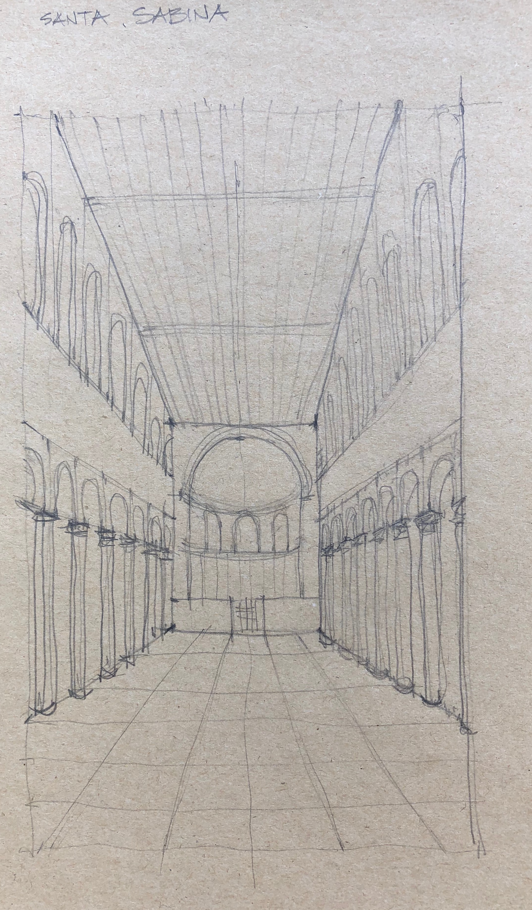 Interior of Santa Sabina on Aventine Hill, one of the seven hills of Rome. This sketch was rushed and does not come close to conveying the scale and reverence of this space. May need to sketch this one again.