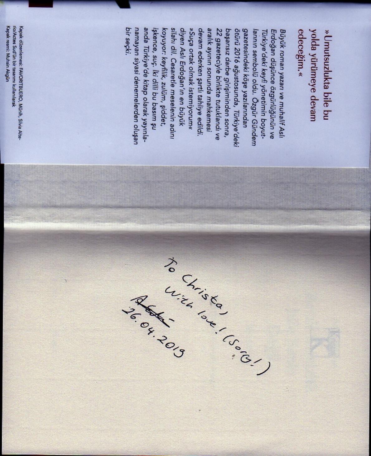 Buch-Widmung von  Aslı Erdoğan