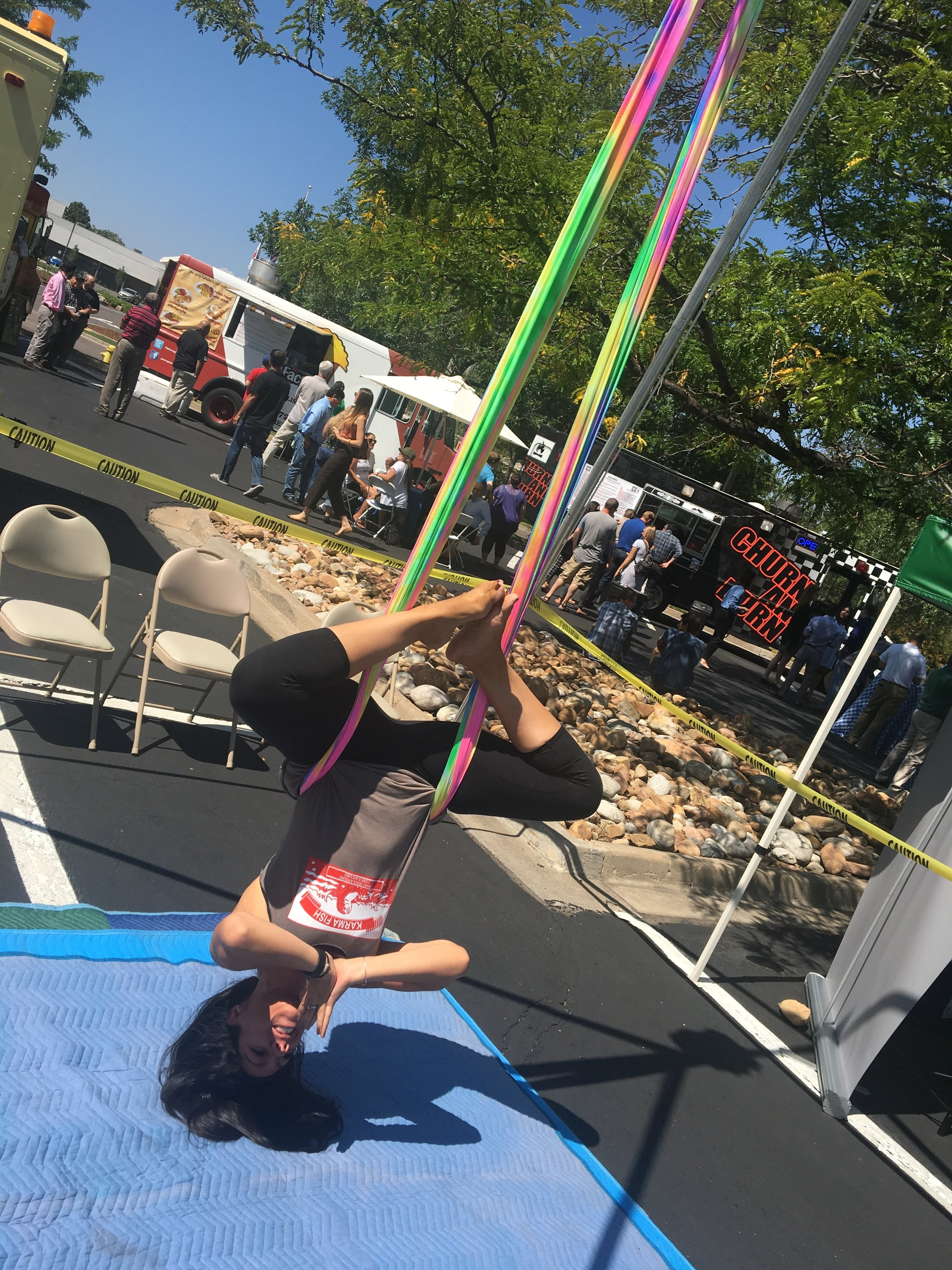 This photo was taken at the Tava Yoga booth at DTC Eats.