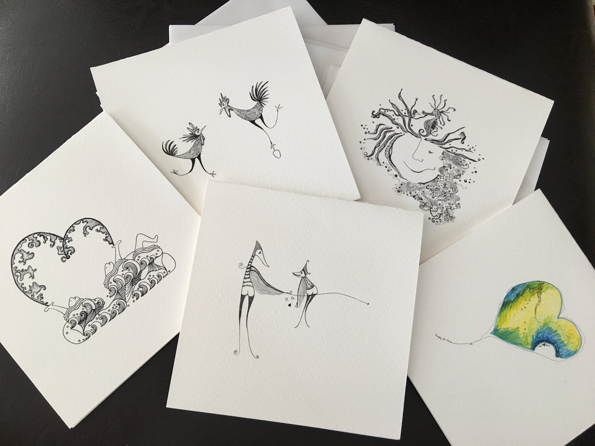 Limited edition hand signed note cards on archival watercolor paper