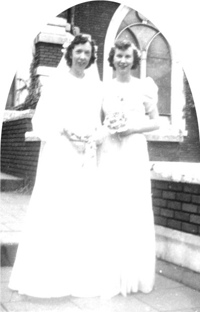 Ruth and her sister Marjorieann on Ruth's Wedding Day.