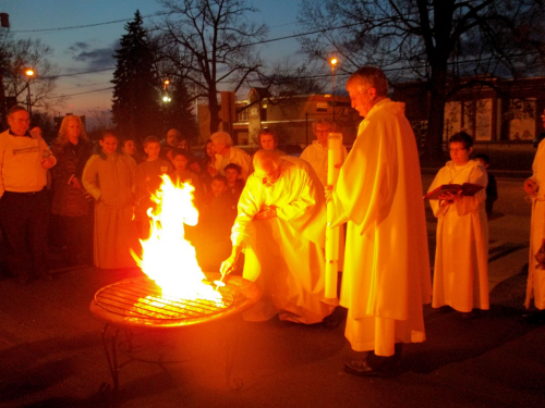 Beginning of the  Easter Vigil  - Fire is a symbol of Jesus, the true light of the world, whose death on the cross conquered the darkness of sin and evil. He leads us into the light of God's love. Adult baptism takes place during the Easter Vigil.