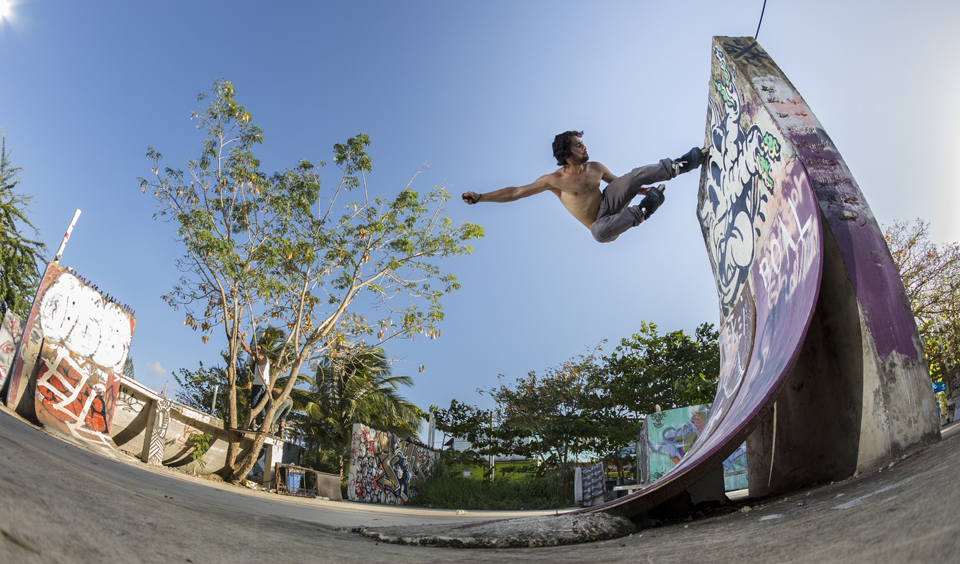 This was probably one of my favorite photos that I took for this project. It was at a makeshift skatepark in Puerto Rico and I even used a makeshift setup to shoot this with. I had my camera propped up on a rock on the ground to get this low angle.   Canon 6D, Canon 15mm f/2.8 Fisheye (iso100, f/5.6, 1/160s)