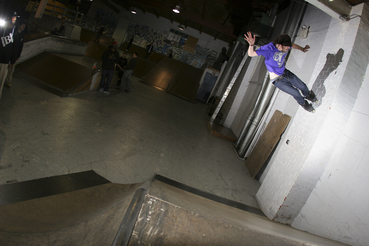 Colin Kelso - Launch to A/O Wallride at b.Unique's Underground Skate Park in Brooklyn, NY in 2006  Canon 20D, Canon 15mm f/2.8 fisheye (iso100, f3.2, 1/250s)