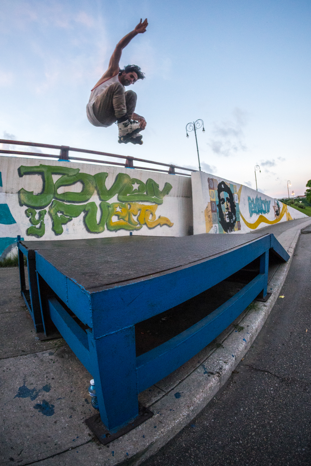 One of my goals for this trip was to get at least one clip and one photo of me blading in Cuba since no one has really seen anything come out of there before. I did my research on google earth and managed to find this ramp with Che Guevera in the background. Cuban blading perfection! Photo shot by  Jon Ortiz .  Sony A7RII, Rokinon 8mm Fisheye (iso3200, f/3.5, 1/800s)