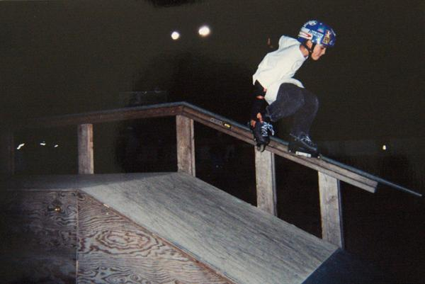Makio at the local skatepark in 1996.