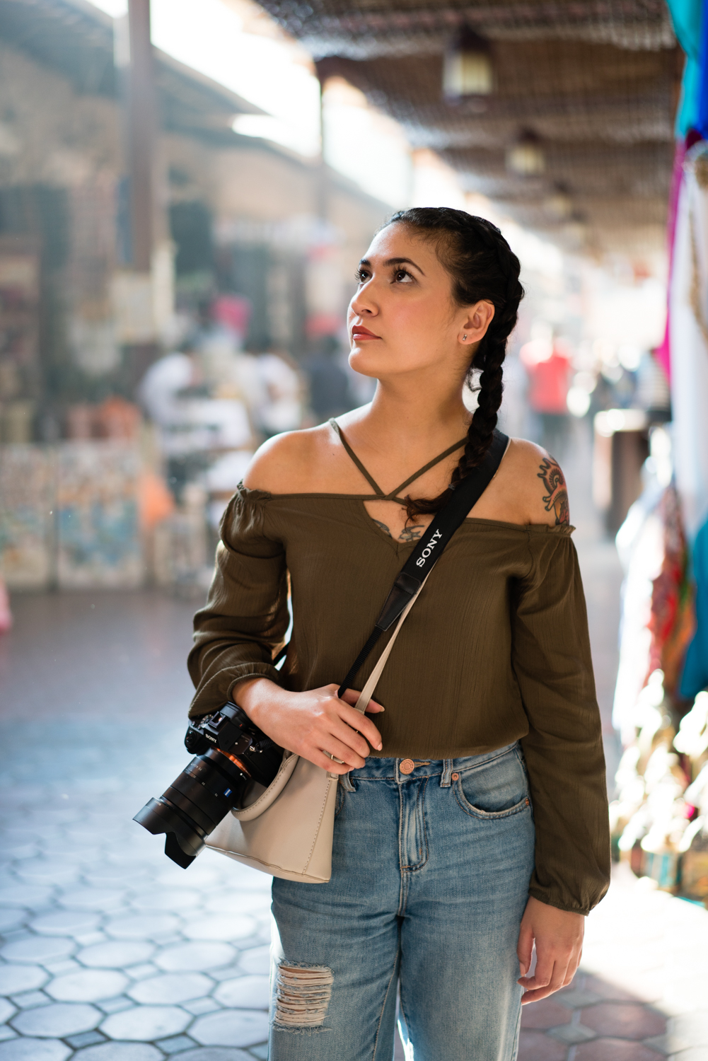 Amanda walking through the market in Old Dubai.  Sony A7RII, Zeiss 55mm f/1.8 (iso400, f/1.8, 1/400s)