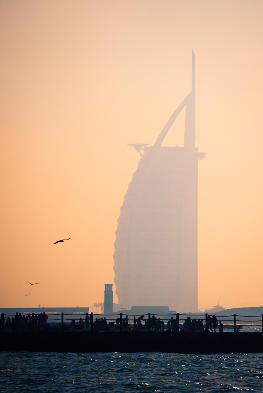 Burj Al Arab from Kite Beach.  Sony A7RII, Sony 55-210mm f/4.5-6.3 (iso100, f/6.3, 1/5000s)