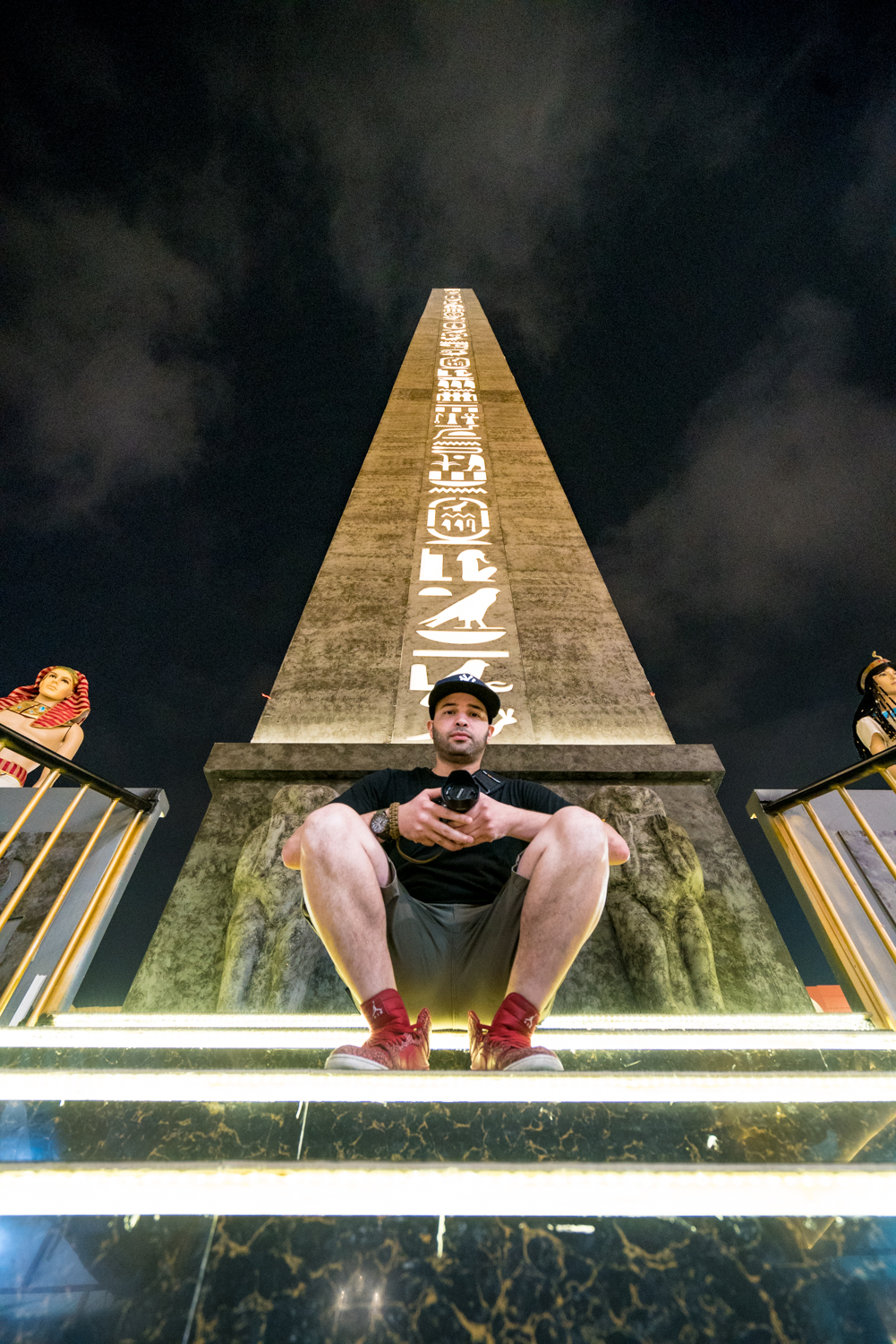 My buddy Christian in front of this sick sculpture in Africa, I believe.  A7RII, Sony 16-35mm f/4 (iso3200, f/4, 1/60s)