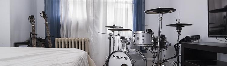 bedroom hybrid drum kit austin paz