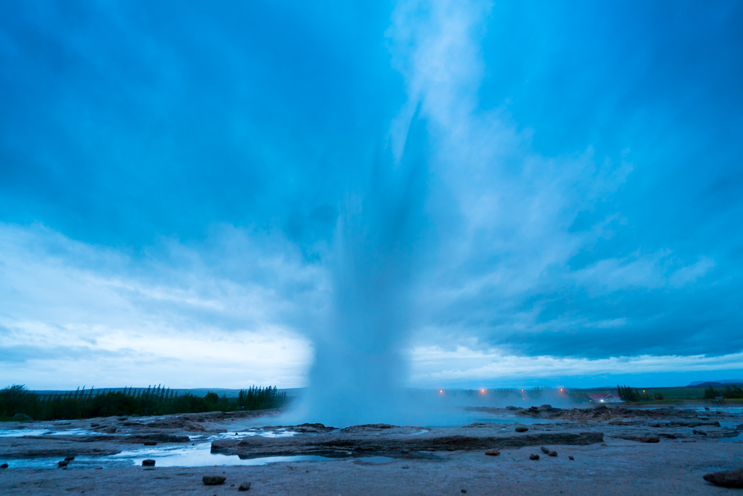 We went to check out Geysir, which is what all other geysers are named after.   Geysir doesn't erupt as often anymore, but Strokkur is another geyser right next to it that went off every couple of minutes.  It was really cool to see it in person.  By this time, it was 11pm and this was pretty much as dark as it got.