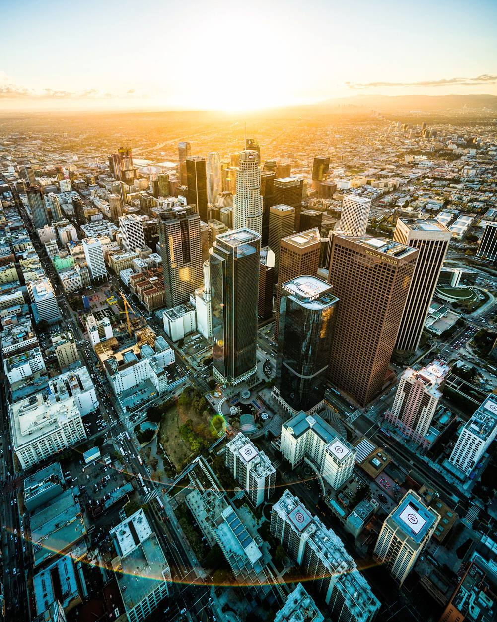 Sunset flight over Downtown Los Angeles.