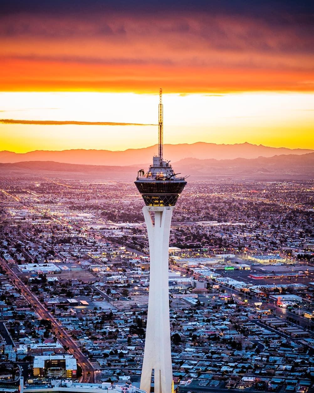 Sunrise behind the Stratosphere in Las Vegas.