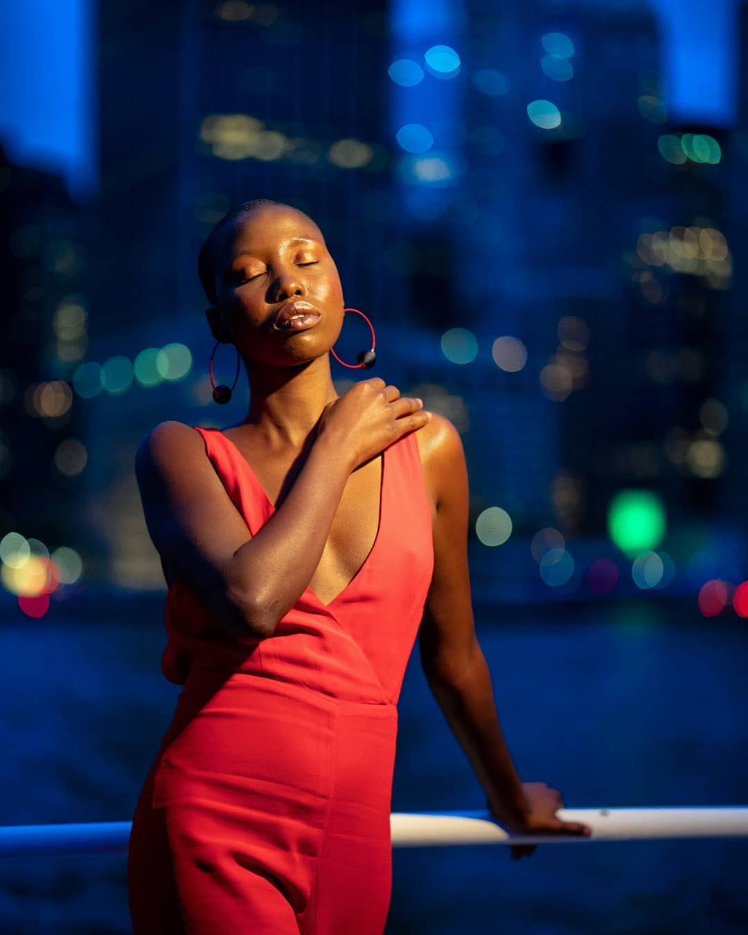 A model posing on a boat that Sony rented to ride around Manhattan.