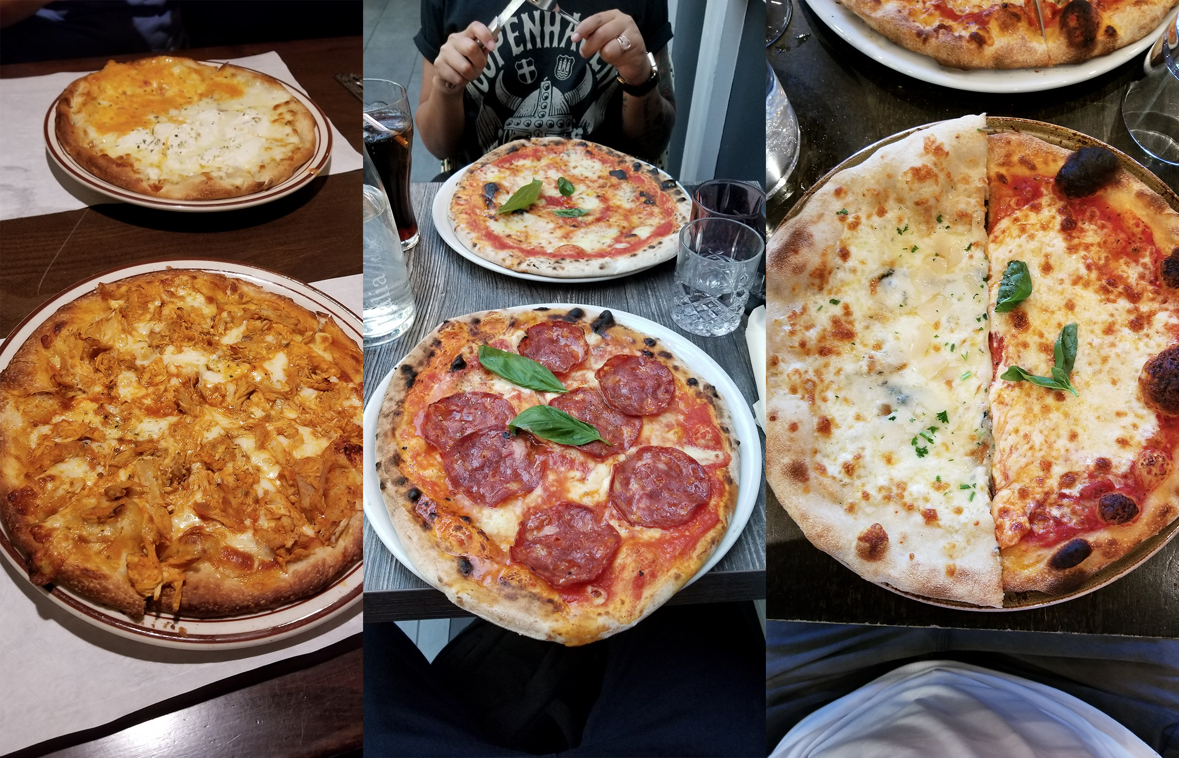 Featured pizzas are Buffalo Chicken from Staten Island, Pizza with hot Salami in Copenhagen, and half Quatro Formagio and half margarita from Manhattan.