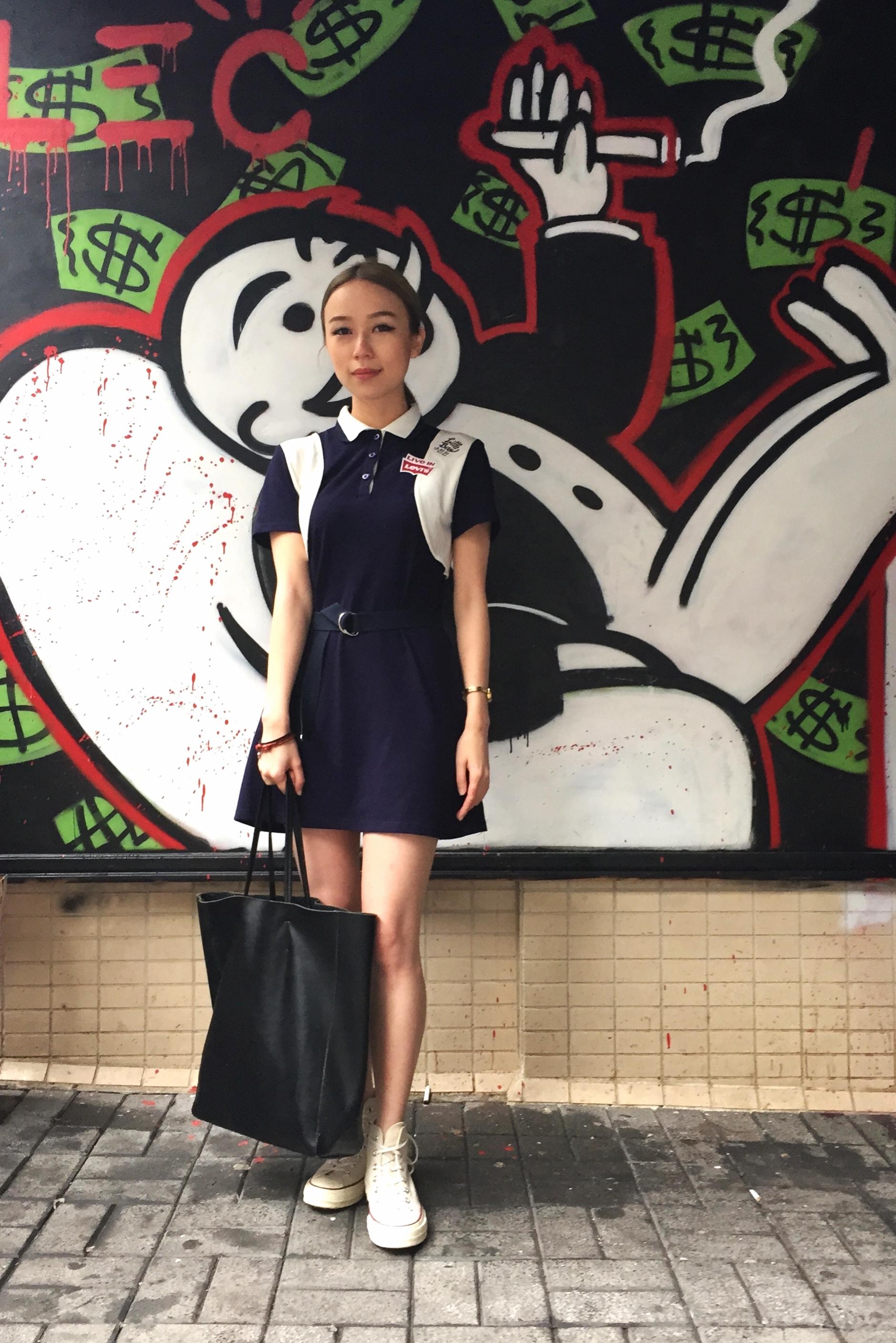 Joey Tse wears :  Dress - Margarin Fingers (Korea)  Shoes - Converse  Bag - Taobao