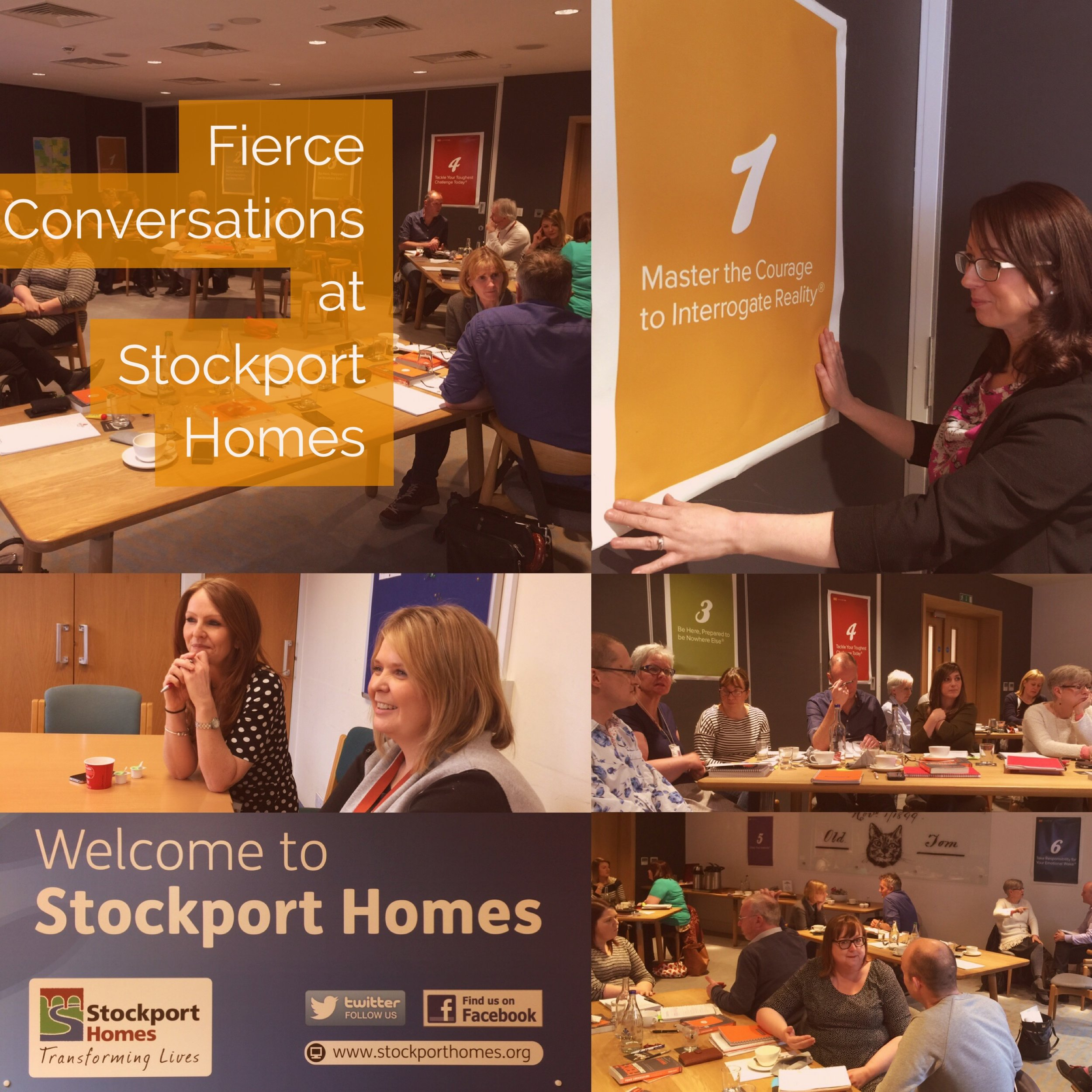 Top right: head of organizational devlopment Liz Chadwick, spreading the word about Fierce. Other images of Stockport Homes' team discussing Fierce.