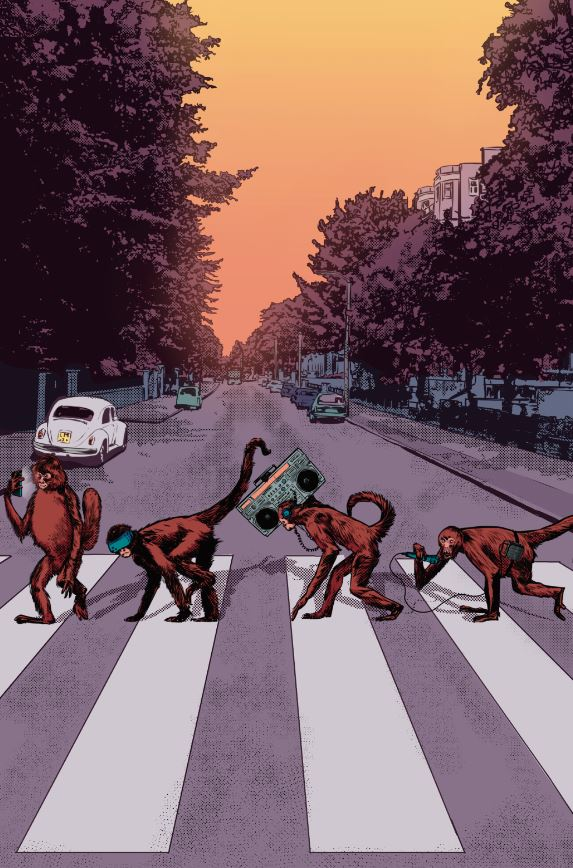We need to all come together... right now... over this Abbey Road inspired pin-up. By Salomon Farias!