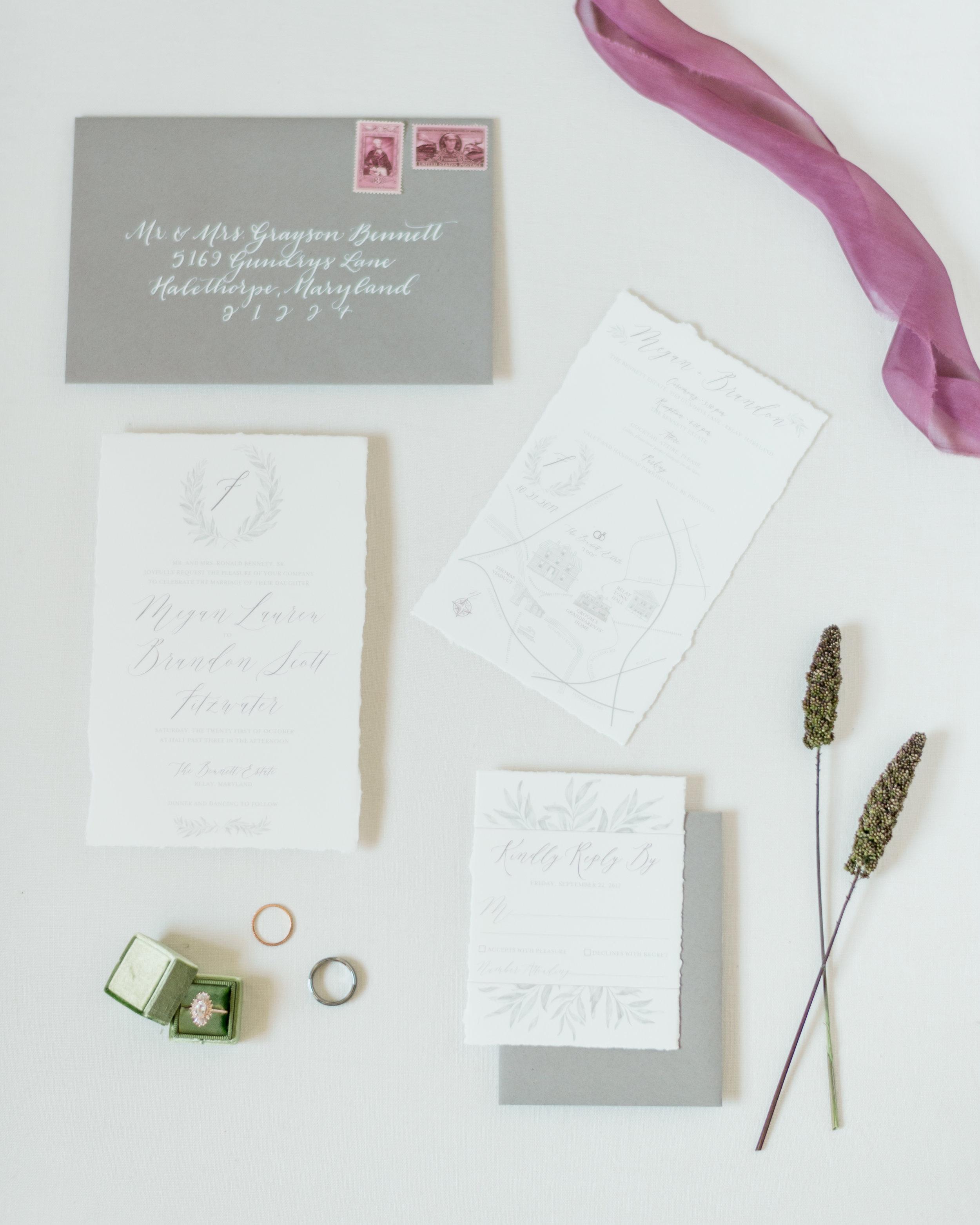 Invitation Suite Design: Susan Wilson Designs. Envelope Calligraphy:  Allison Dee Calligraphy . Photo Credit:  Lauren R Swann Photography .
