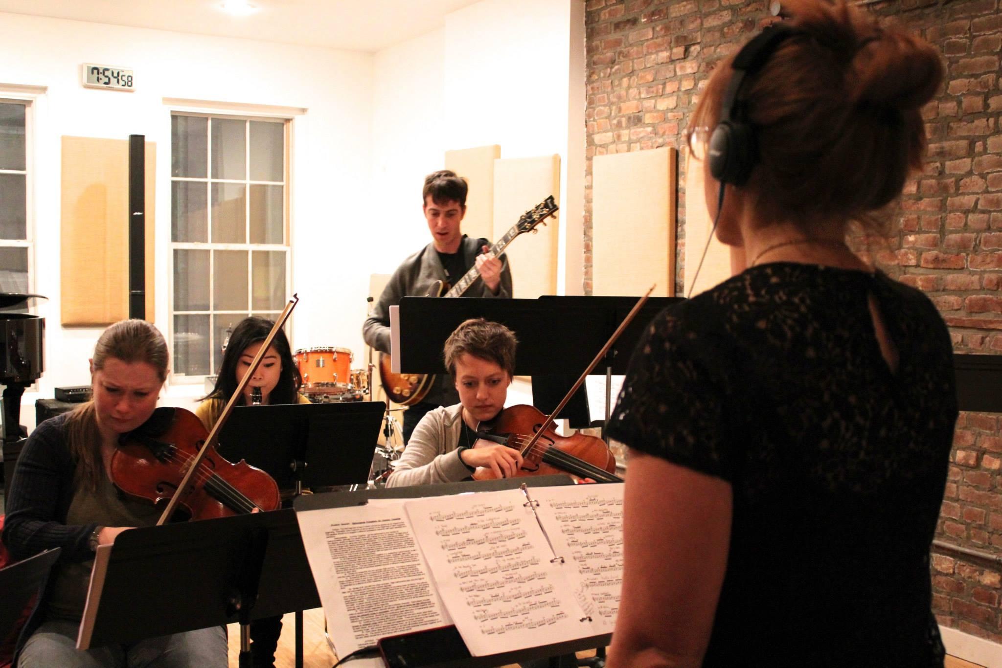 Conducting Hotel Elefant @ Michiko Rehearsal Studios, 2014 (Also Pictured: Isabel Kim, Hannis Brown, Gillian Gallagher, Kallie Ciechomski)