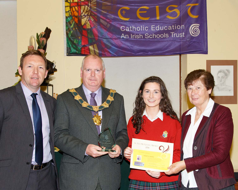 Kelli Scannell winner of the Sr Eilis McGrath Award