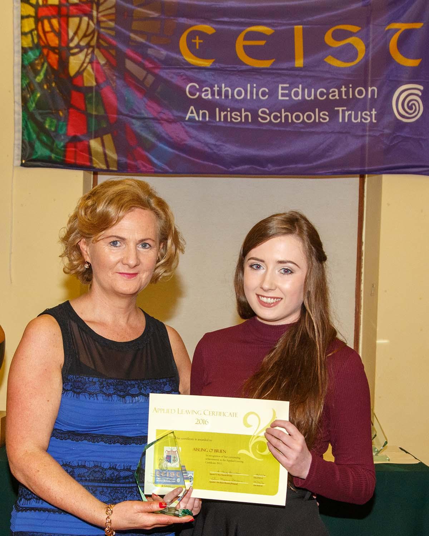 Aisling O'Brien Joint winner of the Applied Leaving Certificate Award
